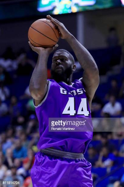 Ivan Johnson of the Ghost Ballers attempts a shot against the Ball Hogs during week three of the BIG3 three on three basketball league at BOK Center...