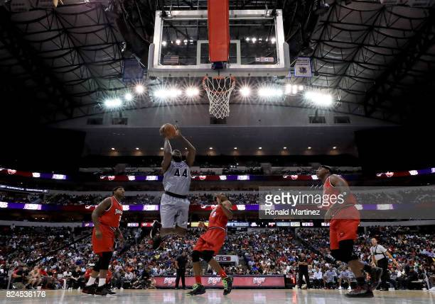 Ivan Johnson of the Ghost Ballers attempts a shot against the Trilogy during week six of the BIG3 three on three basketball league at American...