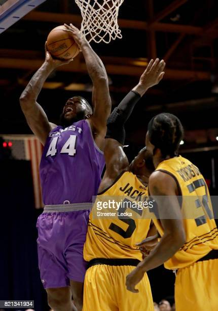 Ivan Johnson of the Ghost Ballers attempts a shot while being guarded by Stephen Jackson of the Killer 3s during week five of the BIG3 three on three...