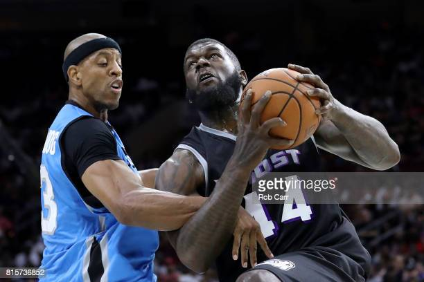 Ivan Johnson of the Ghost Ballers handles the ball against Jerome Williams of Power during week four of the BIG3 three on three basketball league at...