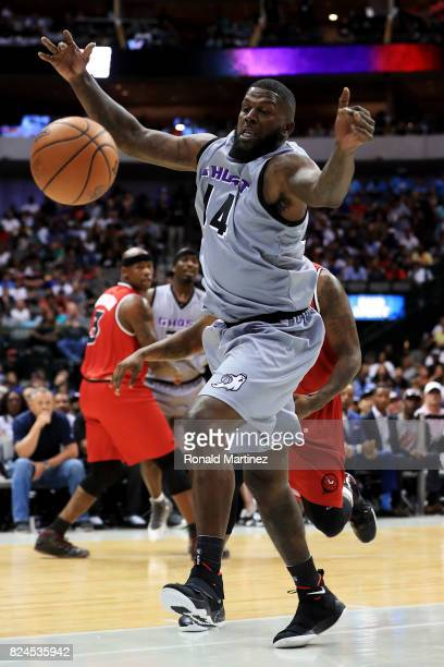 Ivan Johnson of the Ghost Ballers loses control of the ball against the Trilogy during week six of the BIG3 three on three basketball league at...