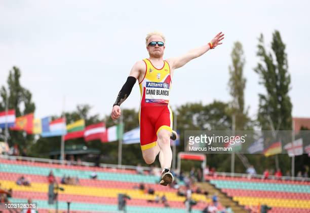 Ivan Jose Cano Blanco of Spain wins men´s long jump T13 class during the Berlin 2018 World Para Athletics European Championships at...