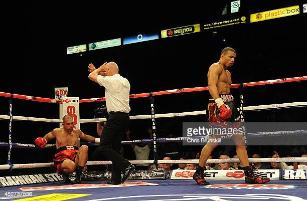 Ivan Jukic of Croatia is counted out after being stopped by Chris Eubank Jnr of Great Britain during their middleweight fight at the Phones 4u Arena...