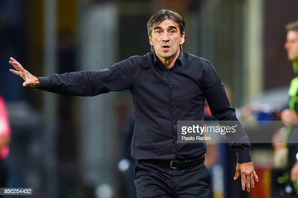 Ivan Juric coach of Genoa during the Serie A match between Genoa CFC and AC Chievo Verona at Stadio Luigi Ferraris on September 20 2017 in Genoa Italy