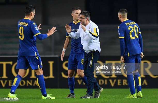 Ivan Juric head coach of Hellas Verona celebrates the victory after the Serie A match between Hellas Verona and Brescia Calcio at Stadio Marcantonio...