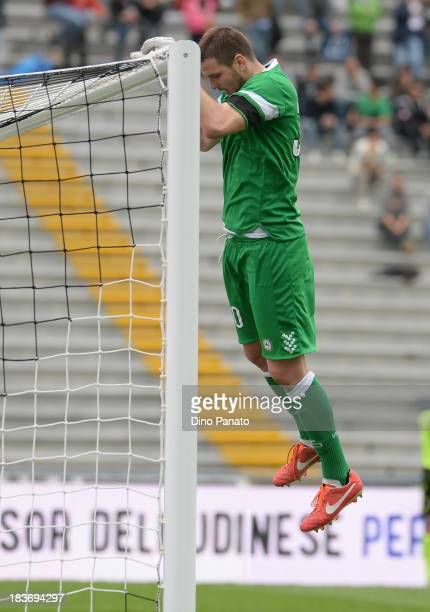 Ivan Kelava goalkeeper celebrates victory after the Serie A match between Udinese Calcio and Cagliari Calcio at Stadio Friuli on October 6 2013 in...