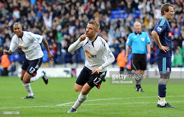 Ivan Klasnic of Bolton Wanderers celebrates scoring the winning goal during the Barclays Premier League match between Bolton Wanderers and Stoke City...
