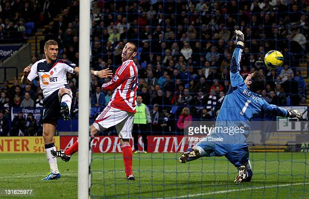 Ivan Klasnic of Bolton Wanderers scores his team's fifth goal during the Barclays Premier League match between Bolton Wanderers and Stoke City at the...
