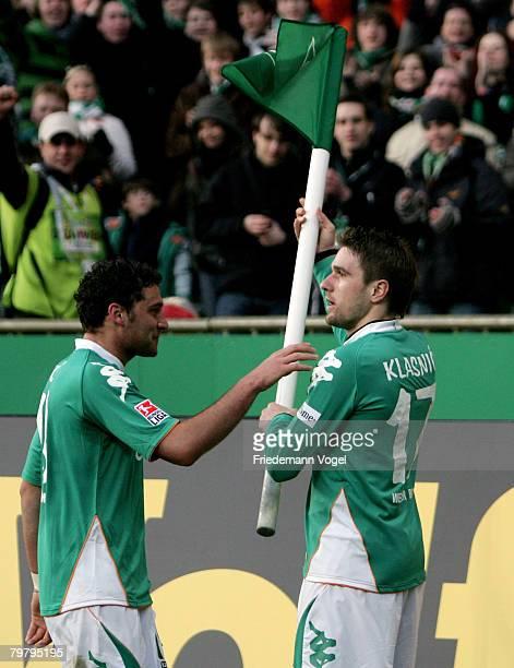 Ivan Klasnic of Bremen celebrates scoring the second gaol with Dusko Tosic during the Bundesliga match between Werder Bremen and 1 FC Nuernberg at...