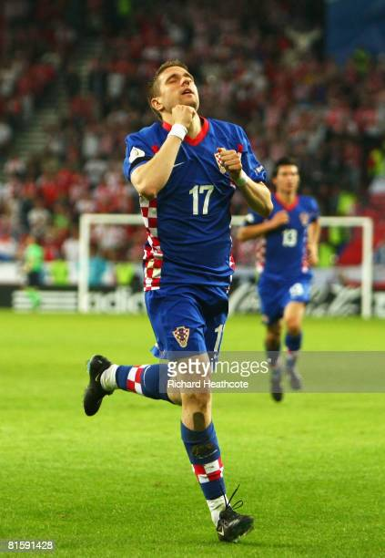 Ivan Klasnic of Croatia celebrates the opening goal against Poland during the UEFA EURO 2008 Group B match between Poland and Croatia at Worthersee...