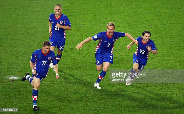 Ivan Klasnic of Croatia celebrates with team mates after heading the ball in to score in the last minutes of extra time during the UEFA EURO 2008...