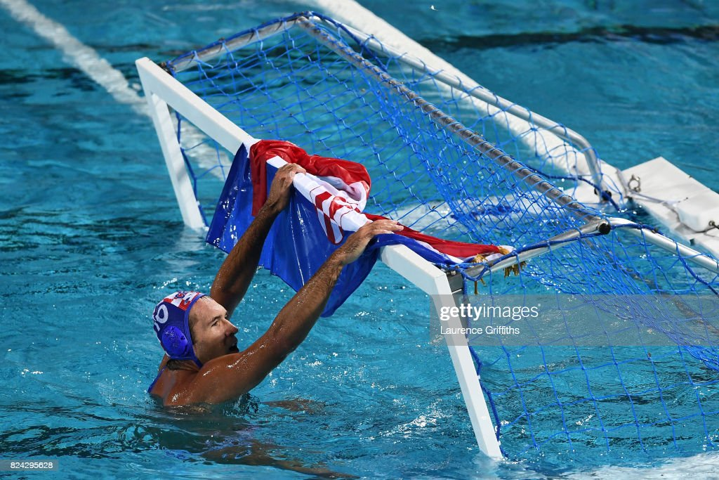Ivan Krapic #10 of Croatia celebrates victory during the Men's Waterpolo Final between Hungary and Croatia on day sixteen of the Budapest 2017 FINA World Championships on July 29, 2017 in Budapest, Hungary.