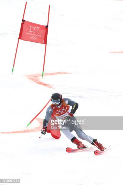 Ivan Kuzneytsov of Olympic Athlete From Russia competes during the Alpine Team Event on day 15 of the PyeongChang 2018 Winter Olympic Games at...