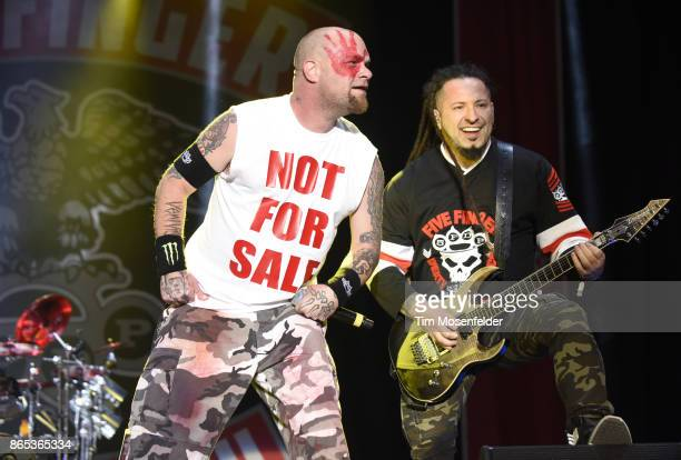 Ivan L Moody and Zoltan Bathory of Five Finger Death Punch perform during the Monster Energy Aftershock Festival at Discovery Park on October 22 2017...