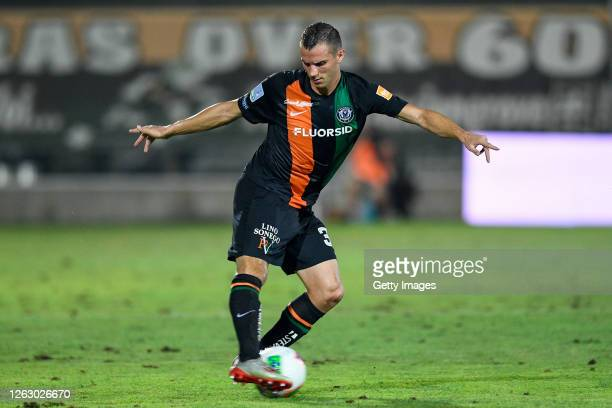 Ivan Lakicevic of Venezia FC kicks the ball during the serie B match between Venezia FC and AC Perugia at Stadio Pier Luigi Penzo on July 31, 2020 in...