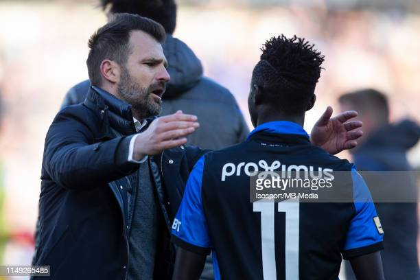 Ivan Leko head coach of Club Brugge celebrates with Krepin Diatta during the Jupiler Pro League playoff 1 match between Club Brugge and Krc Genk at...