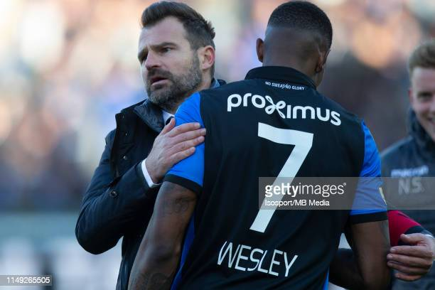 Ivan Leko head coach of Club Brugge celebrates with Wesley Moraes during the Jupiler Pro League playoff 1 match between Club Brugge and Krc Genk at...
