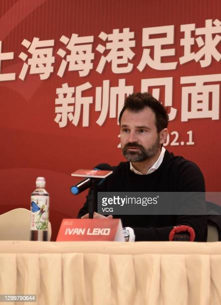 Ivan Leko, new head coach of Shanghai Port Football Club, attends a press conference on February 1, 2021 in Shanghai, China.