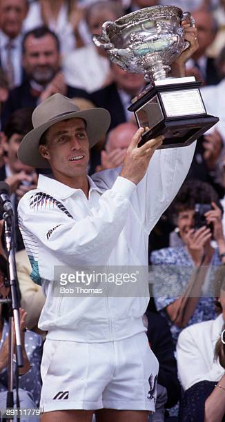 Ivan Lendl of Czechoslovakia holding the trophy after winning the men's singles final of the Australian Open Tennis Championships held in Melbourne...
