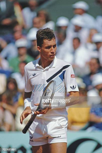 Ivan Lendl of Czechoslovakia looks back at Mikael Pernfors during the Men's Singles Final match at the French Open Tennis Championship on 8 June 1986...
