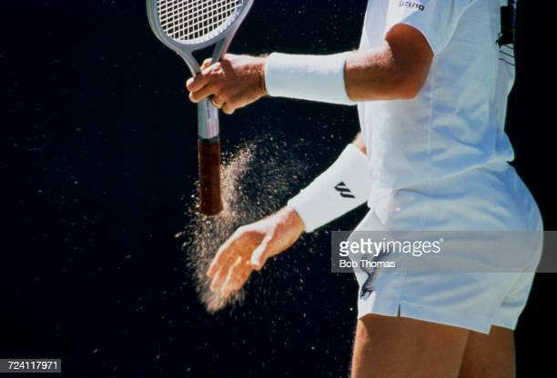 Ivan Lendl of Czechoslovakia pictured with his racket during competition to progress to win the Men's singles tournament at the 1990 Australian Open...