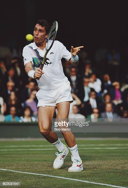 Ivan Lendl of Czechoslovakia returns against Stefan Edberg during their Men's Singles Semi Final of the Wimbledon Lawn Tennis Championship on 6 July...
