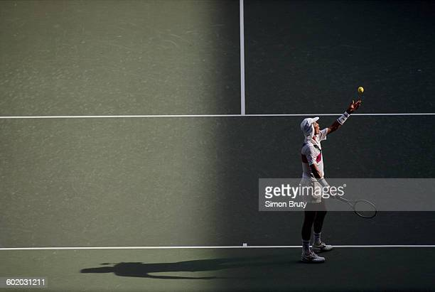 Ivan Lendl of Czechoslovakia tosses the ball into the air as he prepares to serve to Boris Becker during the Men's Singles Final of the Australian...