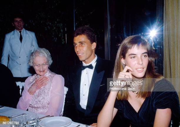 Ivan Lendl of Czechoslovakia with his girlfriend Samantha Frankel and former British tennis player Kitty Godfree at the Wimbledon Champions Dinner in...