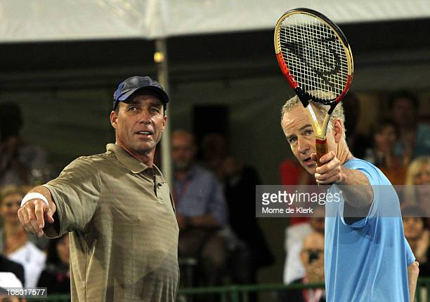 Ivan Lendl of team International and John McEnroe of team America after their match during day three of the World Tennis Challenge at Memorial Drive...