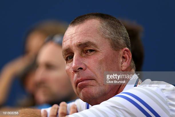 Ivan Lendl the coach of Andy Murray of Great Britain watches his men's singles quarterfinal match against Marin Cilic of Croatia on Day Ten of the...