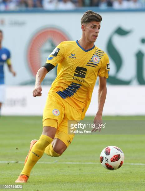 Ivan Leon Franjic of Braunschweig runs with the ball during the 3Liga match between FC Hansa Rostock and Eintracht Braunschweig at Ostseestadion on...