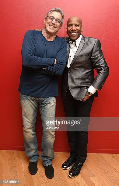 Ivan Lins and Nathan East pose for a photograph during Kawasaki Jazz on November 21 2015 in Kawasaki Japan