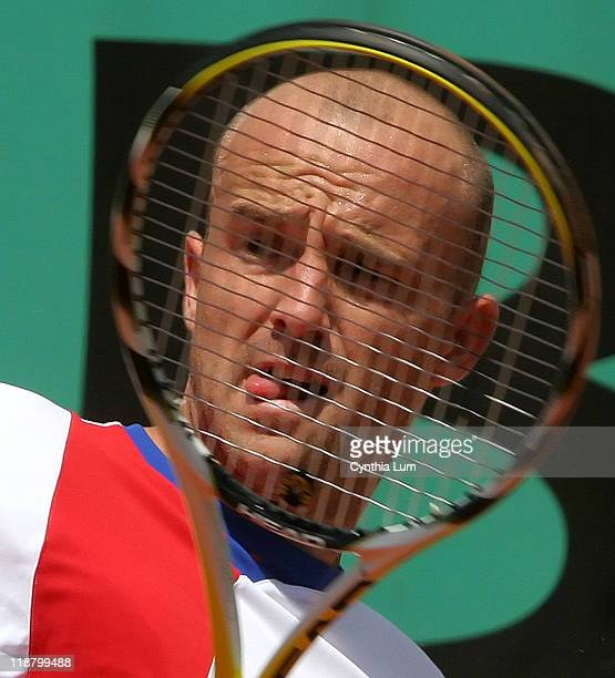 Ivan Ljubic of Croatia in action during his 3 set win over Arnaud Clement of France in the first round of the French Open at Roland Garros Paris...