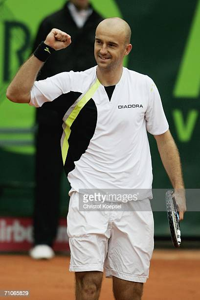 Ivan Ljubicic of Coratia celebrates his 64 and 64 victory against Nicolas Kiefer of Germany and the winning of the ARAG World Team Cup during Day 7...
