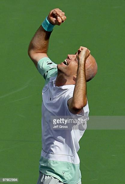 Ivan Ljubicic of Croatia celebrates following his victory over Rafael Nadal of Spain during the BNP Paribas Open at the Indian Wells Tennis Garden on...