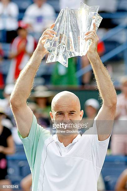 Ivan Ljubicic of Croatia celebrates his win over Andy Roddick during the final of the BNP Paribas Open on March 21, 2010 at the Indian Wells Tennis...