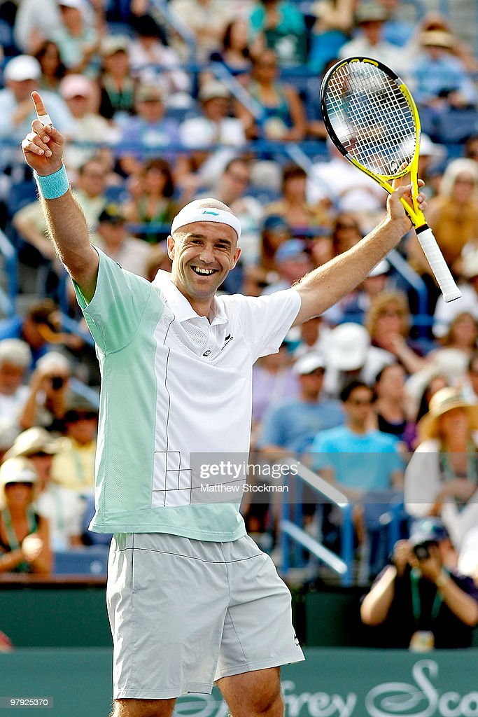 Ivan Ljubicic of Croatia celebrates match point against Andy Roddick during the final of the BNP Paribas Open on March 21, 2010 at the Indian Wells Tennis Garden in Indian Wells, California.