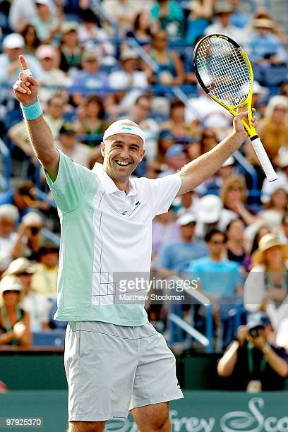 Ivan Ljubicic of Croatia celebrates match point against Andy Roddick during the final of the BNP Paribas Open on March 21, 2010 at the Indian Wells...