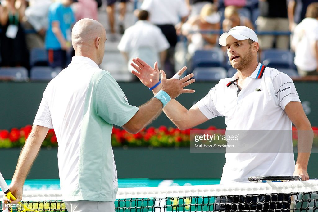 Ivan Ljubicic of Croatia is congratulated by Andy Roddick after their match during the final of the BNP Paribas Open on March 21, 2010 at the Indian Wells Tennis Garden in Indian Wells, California.