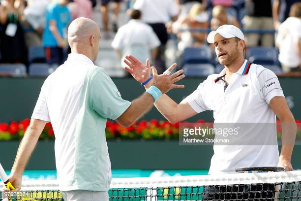 Ivan Ljubicic of Croatia is congratulated by Andy Roddick after their match during the final of the BNP Paribas Open on March 21, 2010 at the Indian...