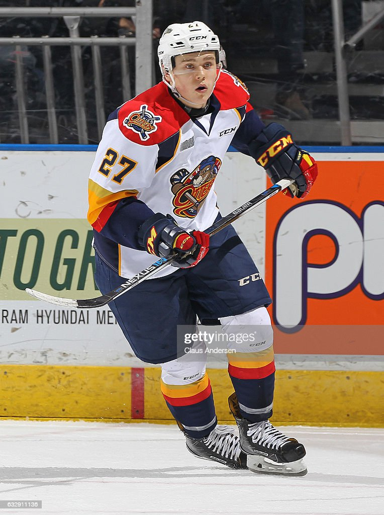 Ivan Lodnia #27 of the Erie Otters skates against the London Knights during an OHL game at Budweiser Gardens on January 27, 2017 in London, Ontario, Canada. The Otters defeated the Knight 5-3.