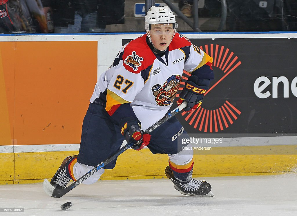 Ivan Lodnia #27 of the Erie Otters turns with the puck against the London Knights during an OHL game at Budweiser Gardens on January 27, 2017 in London, Ontario, Canada. The Otters defeated the Knight 5-3.