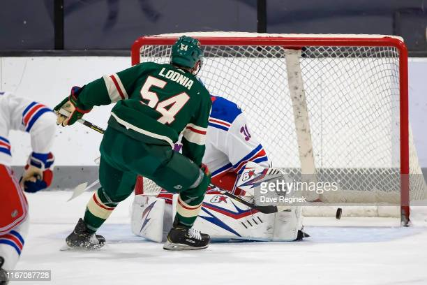 Ivan Lodnia of the Minnesota Wild scores a goal on Igor Shesterkin of the New York Rangers during Day4 of the NHL Prospects Tournament at Centre Ice...