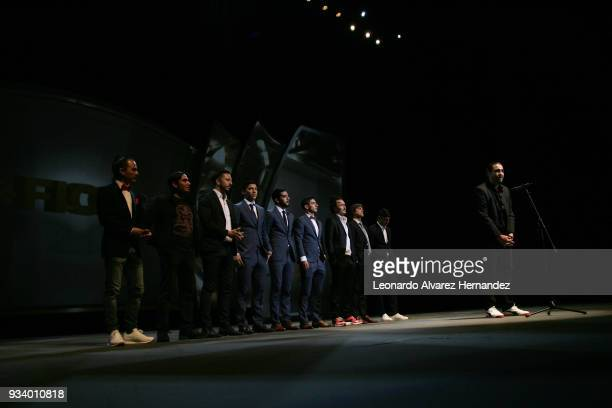 Ivan Lopez director of the Documentary 'Chivas' speaks accompanied by Matias Almeyda and players of Chivas during the Closing Ceremony of the...