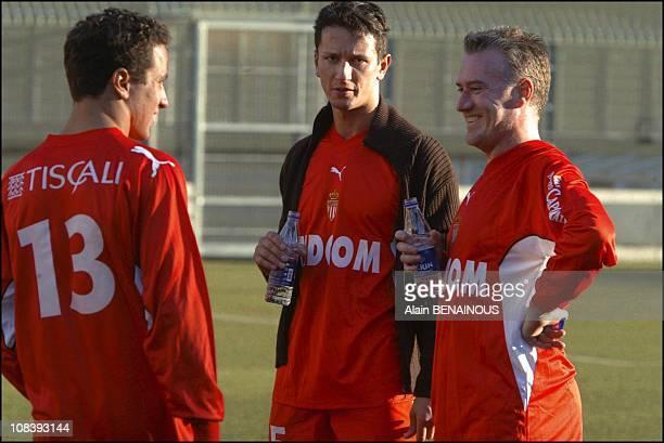 Ivan Lopez Perez, Adans Lopez Peres and Didier Deschamps In Monaco on January 19, 2004.