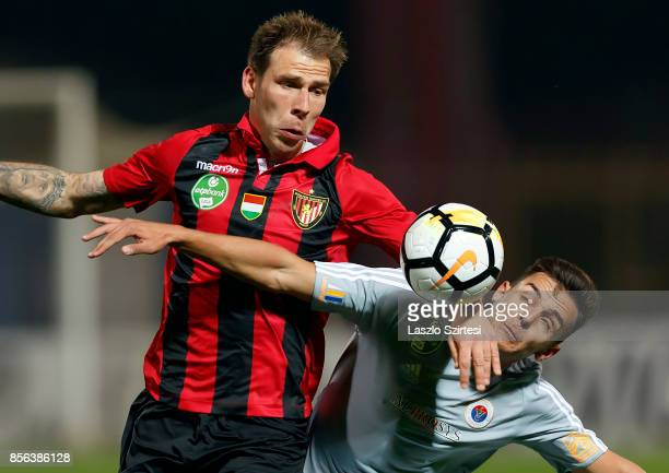 Ivan Lovric of Budapest Honved battles for the ball with Balint Gaal of Vasas FC during the Hungarian OTP Bank Liga match between Budapest Honved and...
