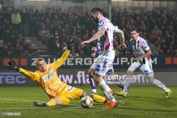 Ivan Lucic of Austria Wien and Petar Filipovic of LASK at the goal to 2:0 during the tipico Bundesliga match between LASK and Austria Wien at...