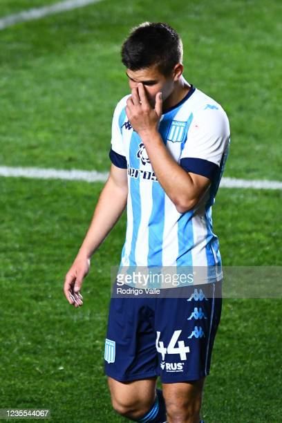 Ivan Maggi of Racing Club reacts after losing a match between Argentinos Juniors and Racing Club as part of Torneo Liga Profesional 2021 at Diego...