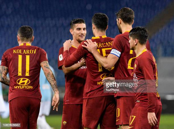 Ivan Marcano celebrates with Lorenzo Pellegrini after scoring goal 20 during the Italian Cup football match between AS Roma and Virtus Entella at the...
