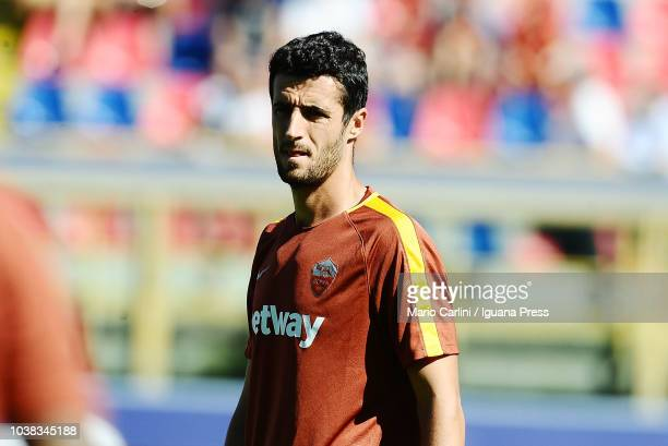 Ivan Marcano of AS Roma looks on during the warm up prior the beginning of the serie A match between Bologna FC and AS Roma at Stadio Renato Dall'Ara...